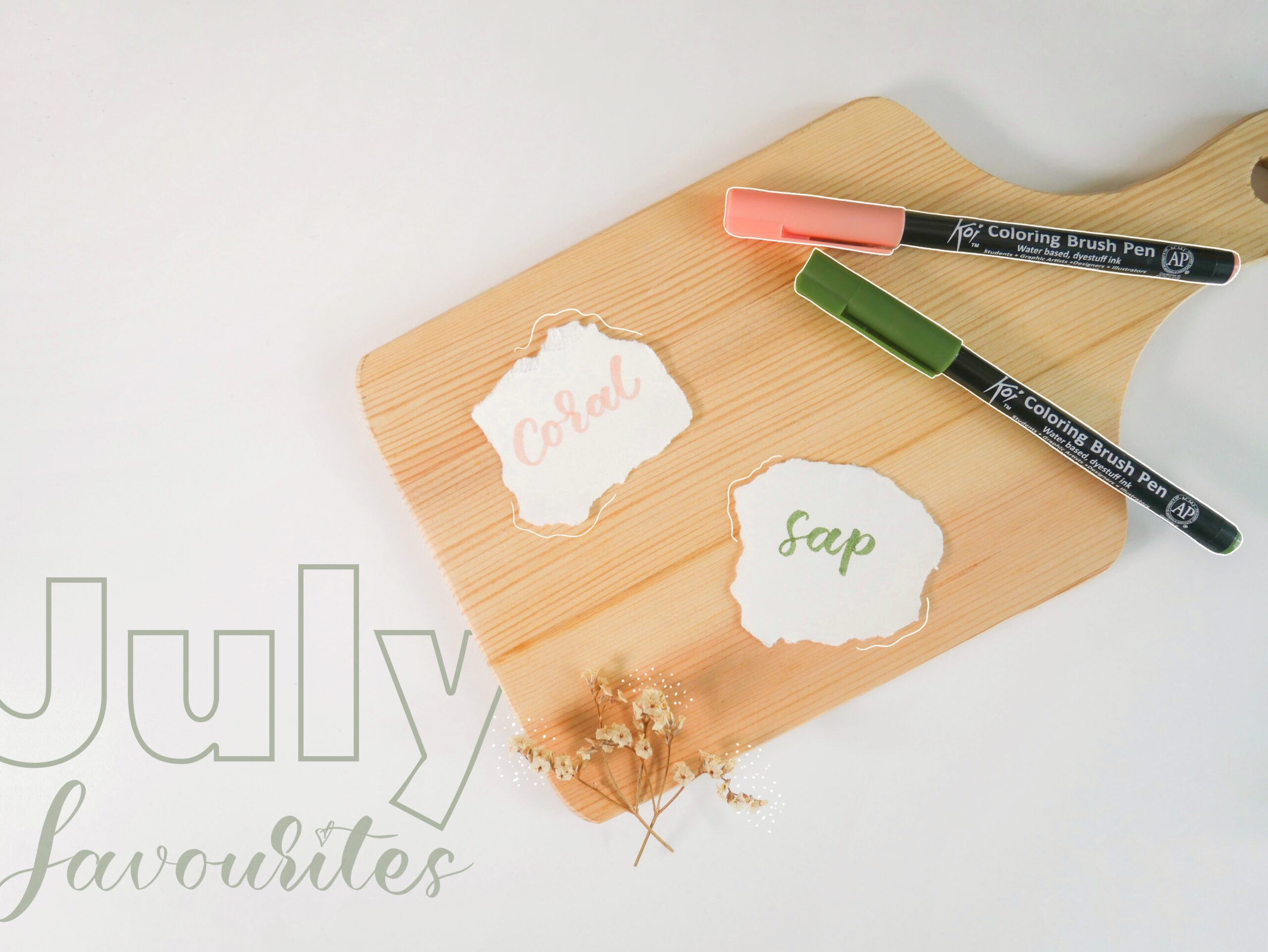 Koi Colouring Brush Pens Sap Green & Coral Red