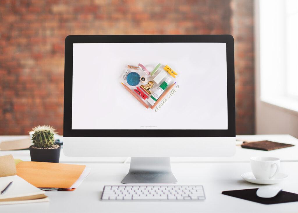 Free Desktop Wallpaper Download Minimal Desk Flatlay