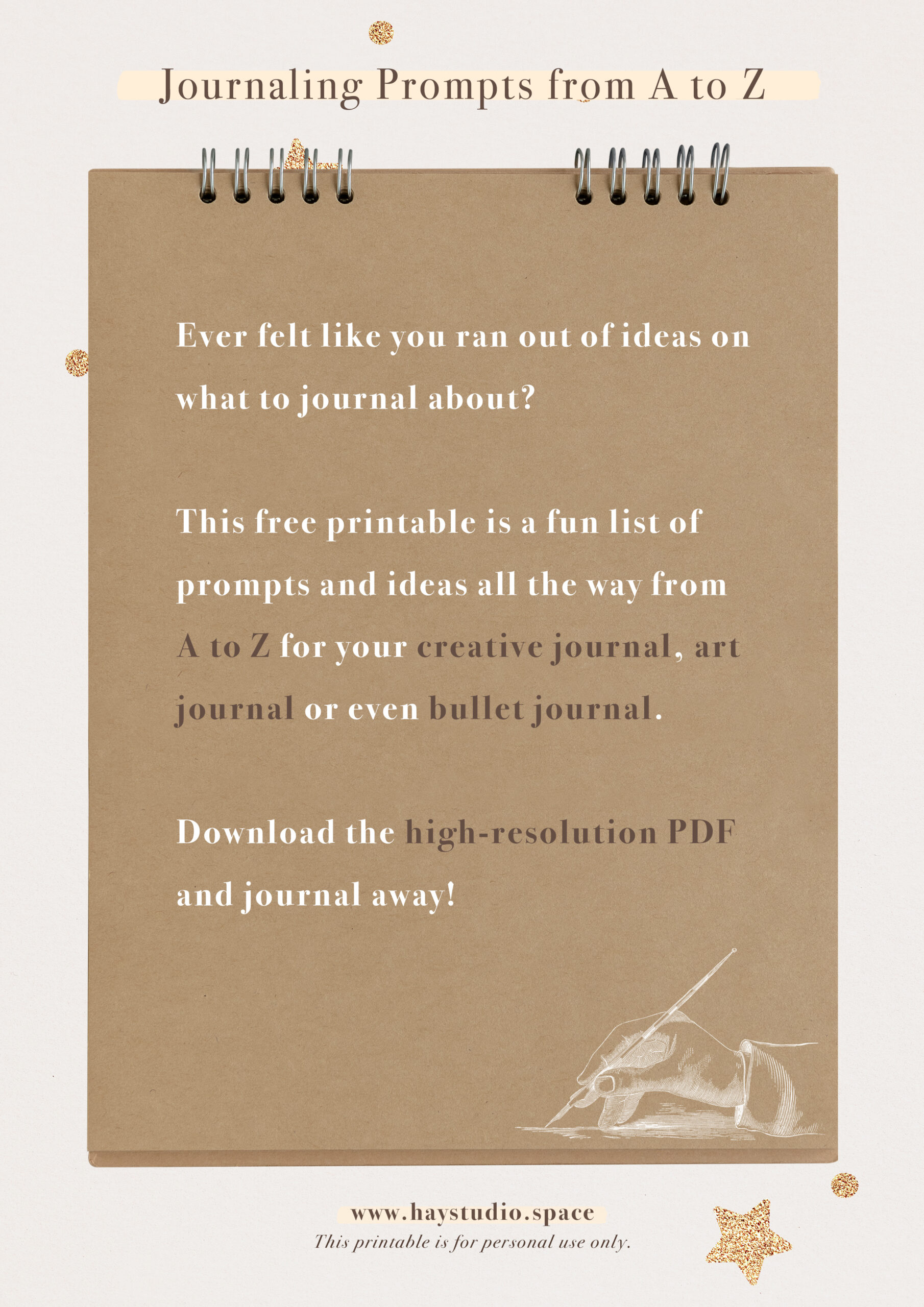 Free Printable Journaling Prompts and Ideas from A to Z List