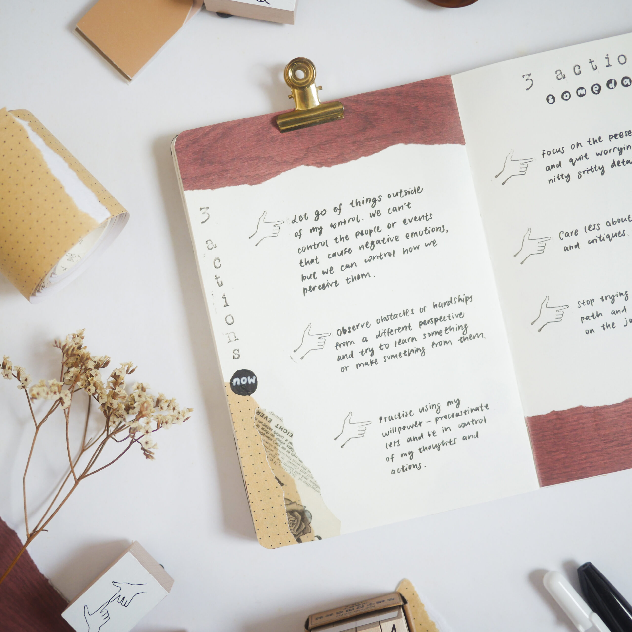 Book Journaling Idea 2 - 2 Actions Now & Someday