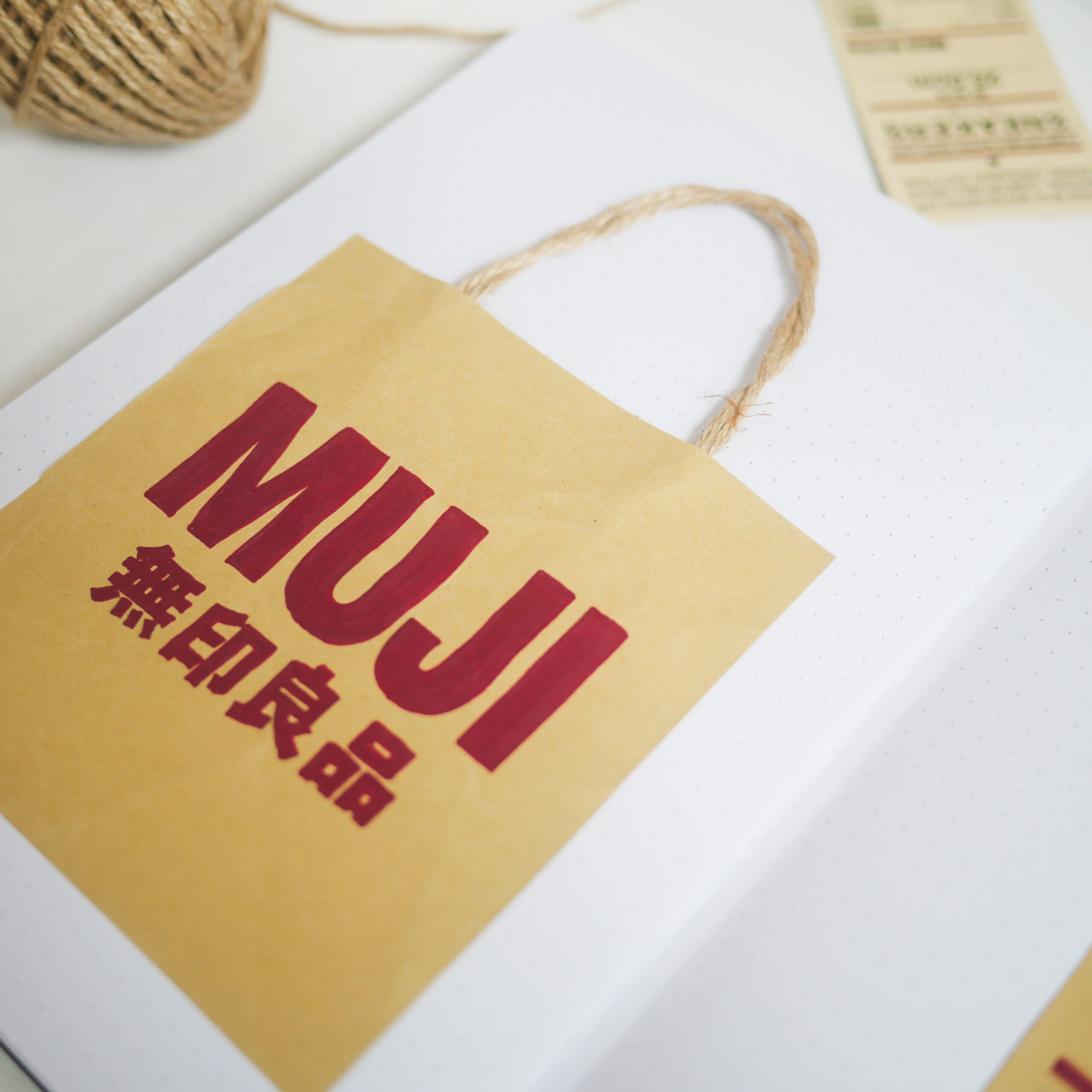 Minimal Bullet Journal Setup - Cover Page Muji Paper Bag