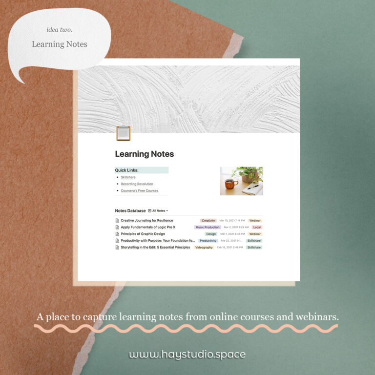 Notion Page Ideas - Learning Notes