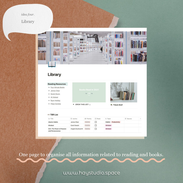 Notion Page Ideas - Library & Reading