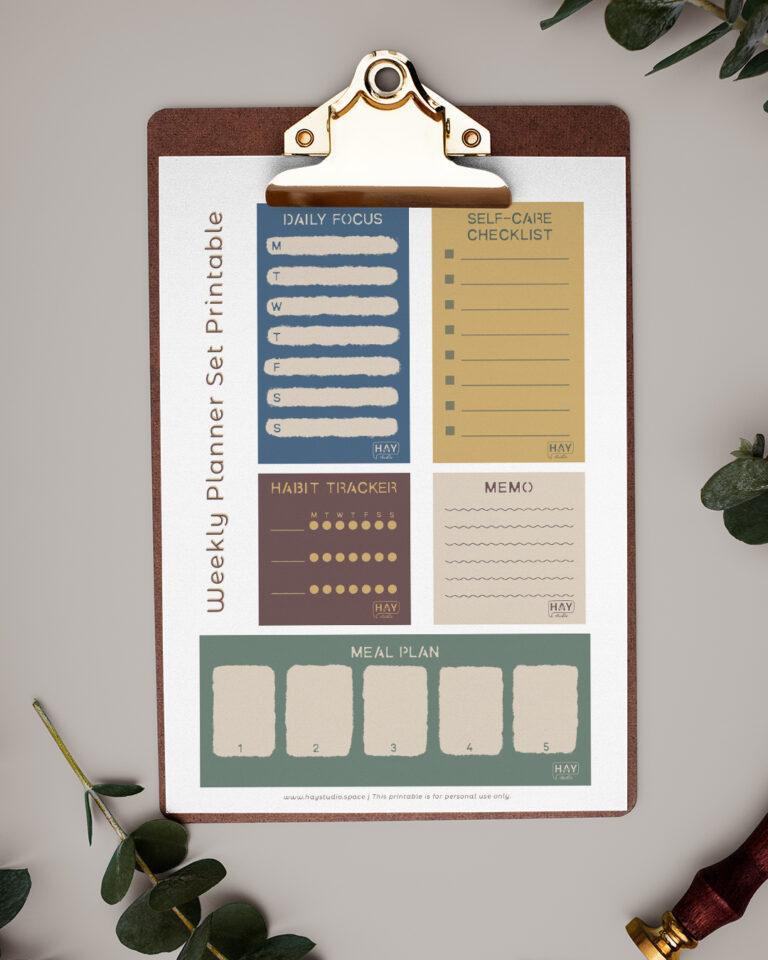 Weekly Planner Set Free Printable by HAY studio
