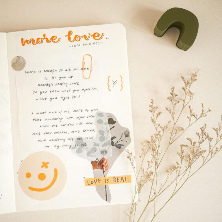 Notebook Page Idea #2: Copy Favourite Song Lyrics