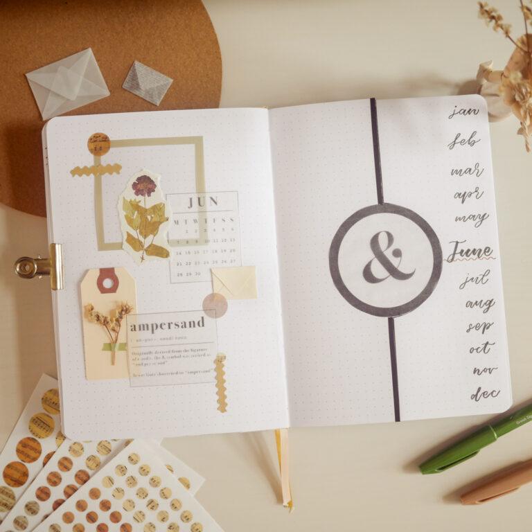 Unique & Elegant Bullet Journal Setup Featuring the Beautiful Ampersand Symbol