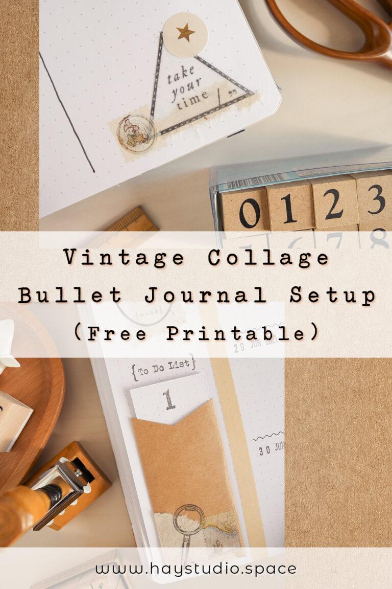 Vintage Collage Bullet Journal Setup